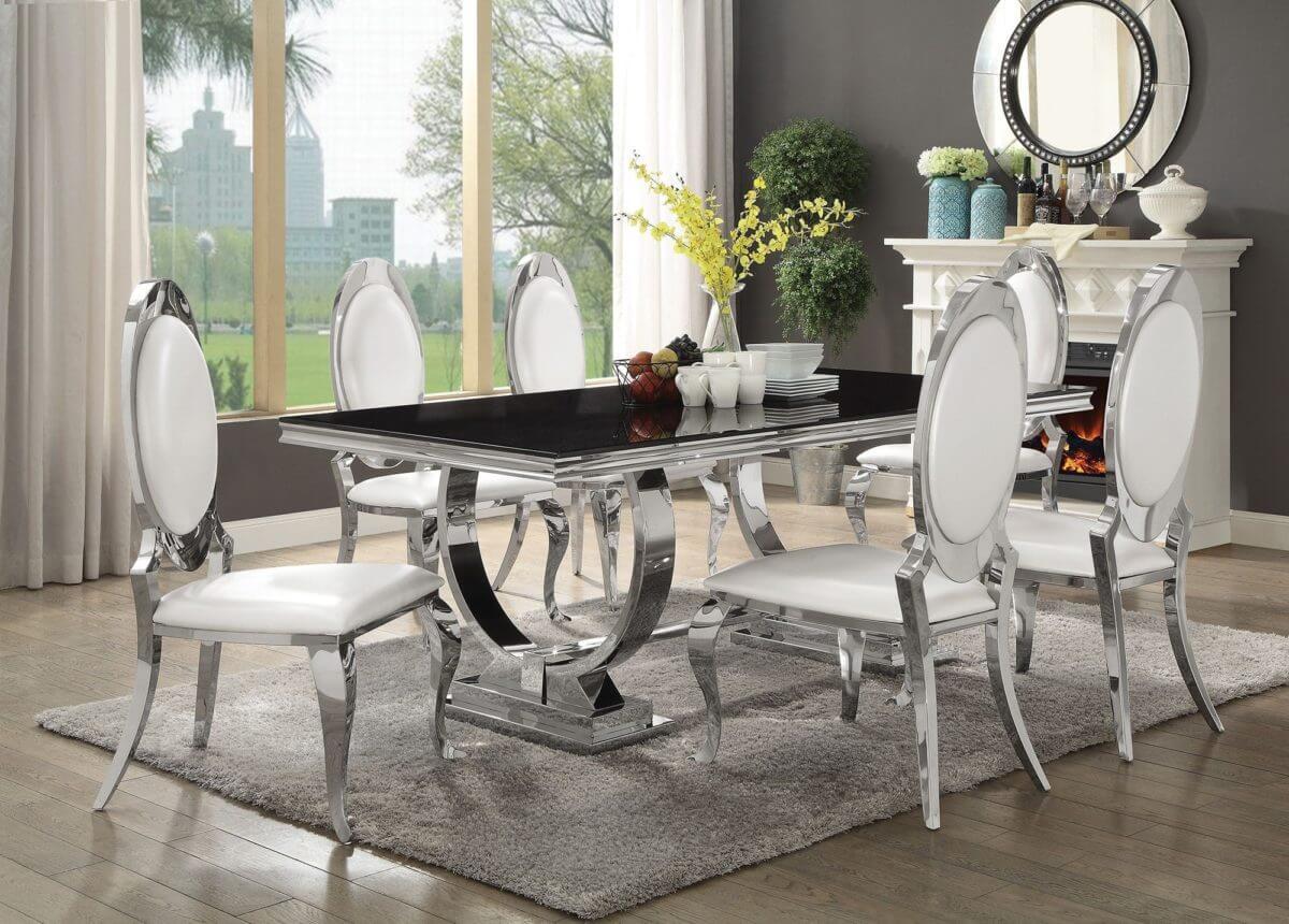 chrome white dining room set