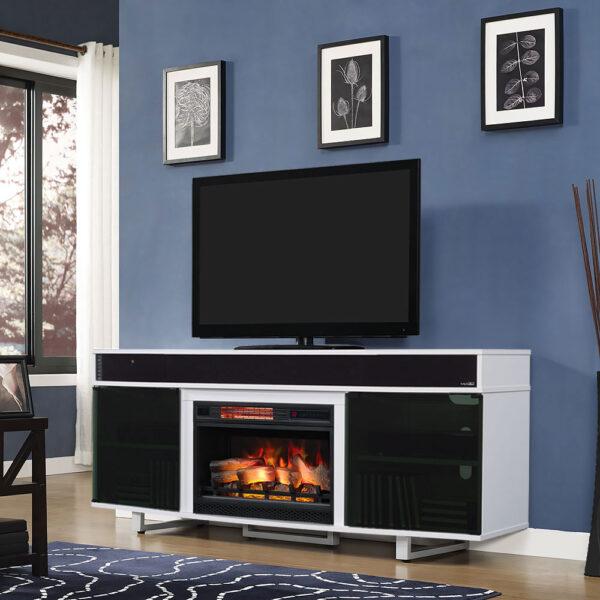 surround sound white tv stand