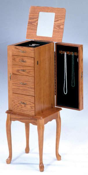 Oak Jewelry Armoire - The Furniture Depot