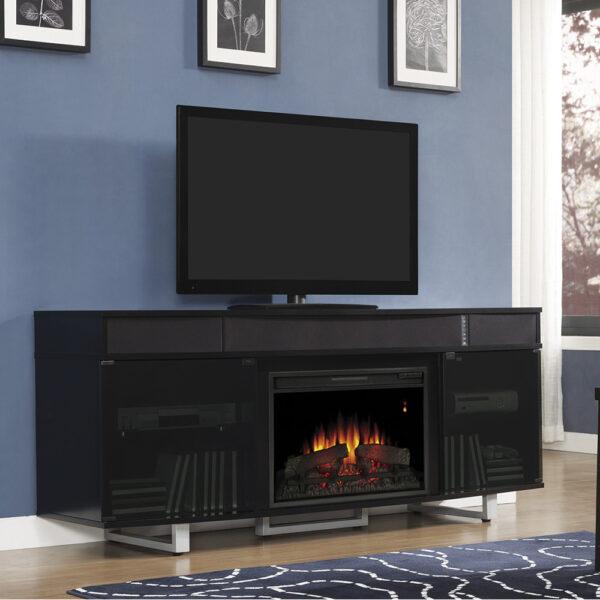surround sound black fireplace