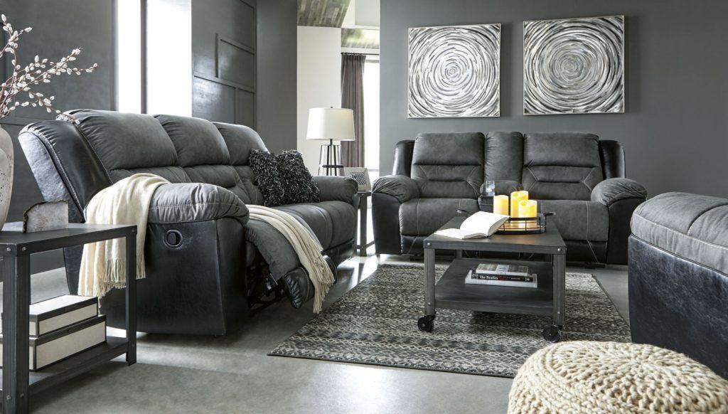 Earhart Slate Reclining Living Room The Furniture Depot
