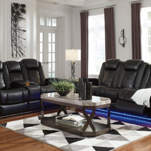 black reclining sofa with led lights