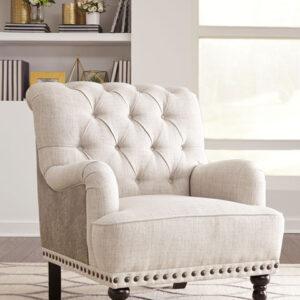 beige linen wing chair