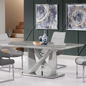 modern white and grey dining room
