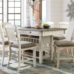 beige pub dining room with wine rack pedestal base