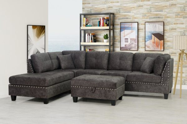 grey nailhead sectional with ottoman