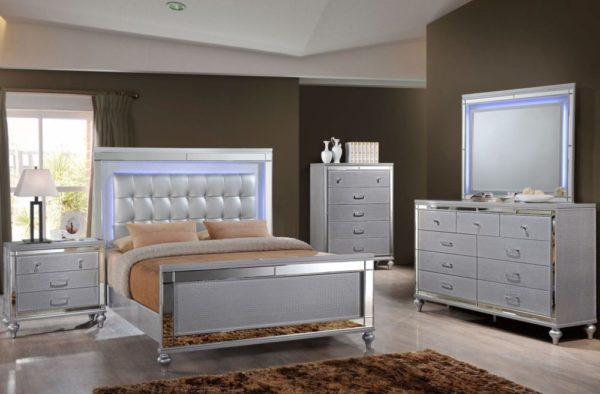 silver bedroom with lighted headboard