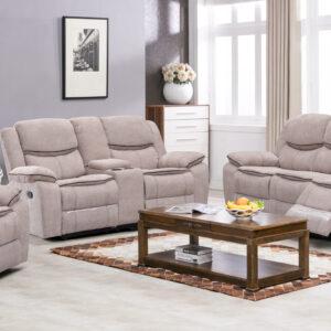 Plush microfiber reclining living room set