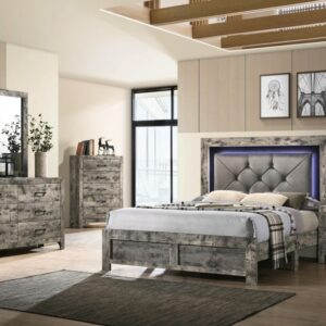 grey whitewash bedroom set with led light