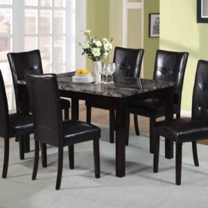 faux marble table and 6 chairs